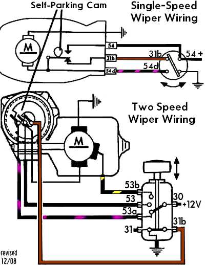 WiperSelfParkWiring ford wiper switch wiring diagram ford wiper switch schematic 1968 corvette wiper motor wiring diagram at bayanpartner.co