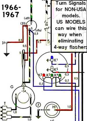 vw bug wiring diagram 4 prong flasher thesamba com beetle late model super 1968 up view  thesamba com beetle late model super 1968 up view