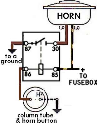 HornRelaySchematic thesamba com beetle 1958 1967 view topic horn bosch horn relay wiring diagram at gsmx.co