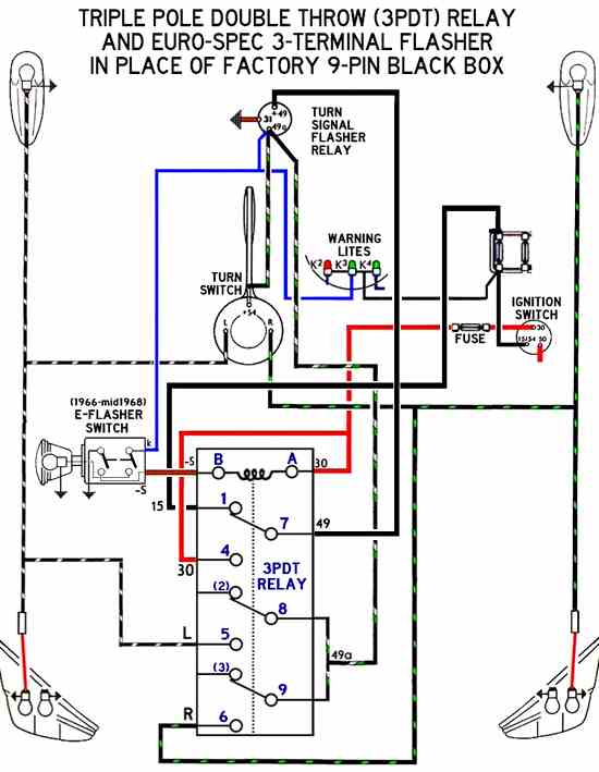 thesamba com beetle 1958 1967 view topic emergency better diagram of a 3pdt relay