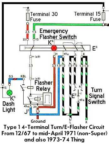 4 TeminalFlasherWiringA thesamba com beetle late model super 1968 up view topic Flasher Circuit Diagram at virtualis.co