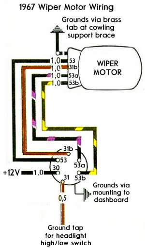 1967WiperMotorWiring thesamba com beetle 1958 1967 view topic 12 volt wiper Simple Light Switch Wiring Diagram at gsmx.co