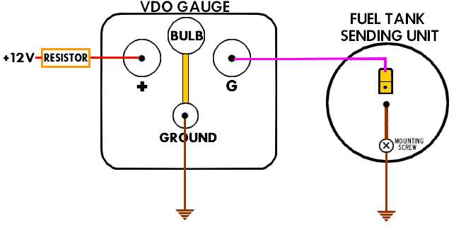 VDO AccessoryFuelGauge Connections vdo gauge wiring vdo fuel gauge \u2022 wiring diagrams j squared co  at panicattacktreatment.co